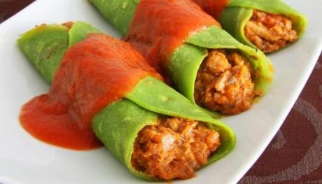 fácil de Fazer Panqueca de espinafre com tomate e sardinha Receitas