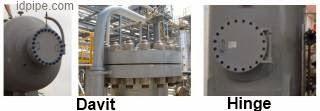 perbedaan davit dan hinge dalam pressure vessel