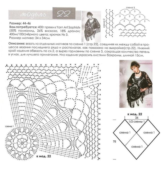 Схема вязания пончо крючком с описанием 17