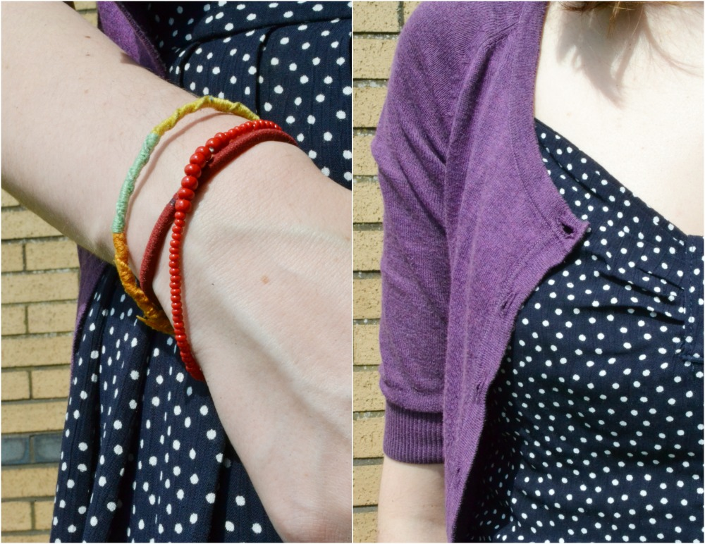 polka dot vintage dress purple cardigan bracelets