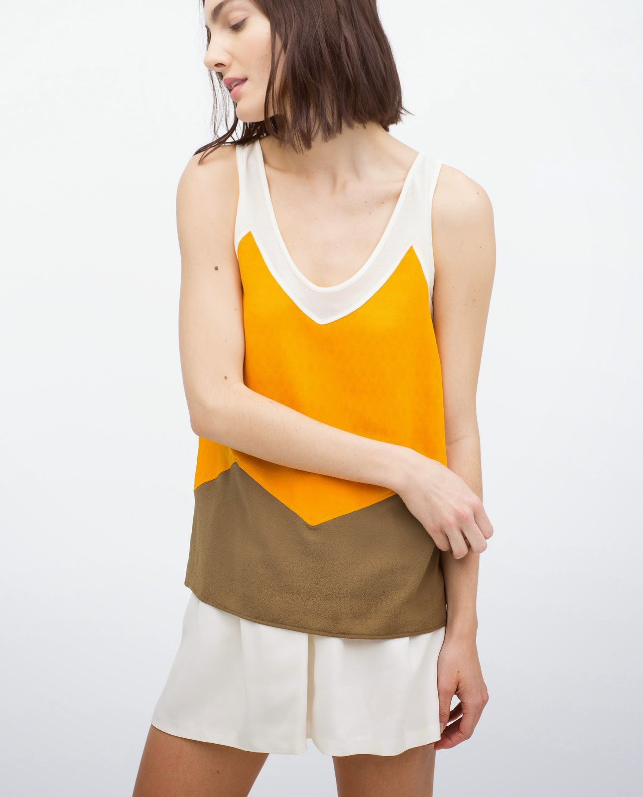 zara colourblock vest, zara v neck vest,