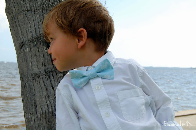 Because I'm me soft blue and white floral flourish bow tie, both boys and mens sizes available