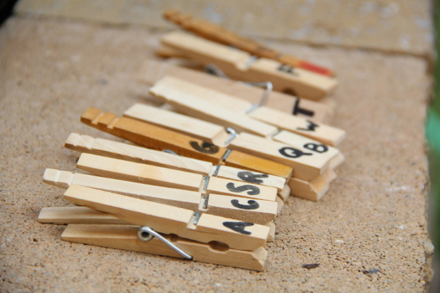 Use clothes pins for a pre-reading activity. This is great for indoors or outdoors.