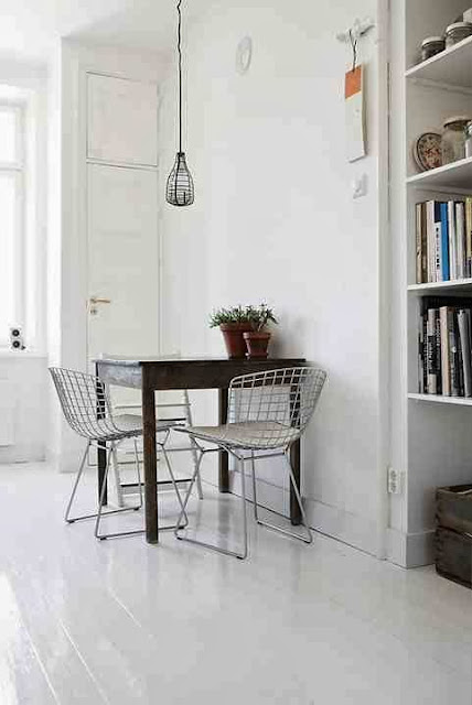 Wire chair and white interior