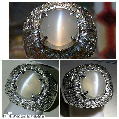 batu natural moonstone cat eye dimensi batu 10x9x6 mm cincin aloy