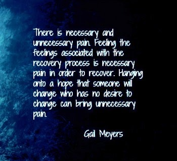 There is necessary and unnecessary pain. Feeling the feelings associated with the recovery process is necessary pain in order to recover. Hanging onto a hope that someone will change who has no desire to change can bring unnecessary pain quote by Gail Meyers