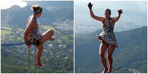 Pakai High Heels, Cewek Ini Tak Kenal Takut Berjalan di Atas Tali