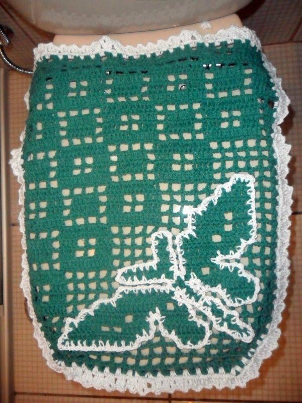 Jogo De Banheiro Verde E Branco : Dida croch?s jogo de banheiro verde com branco