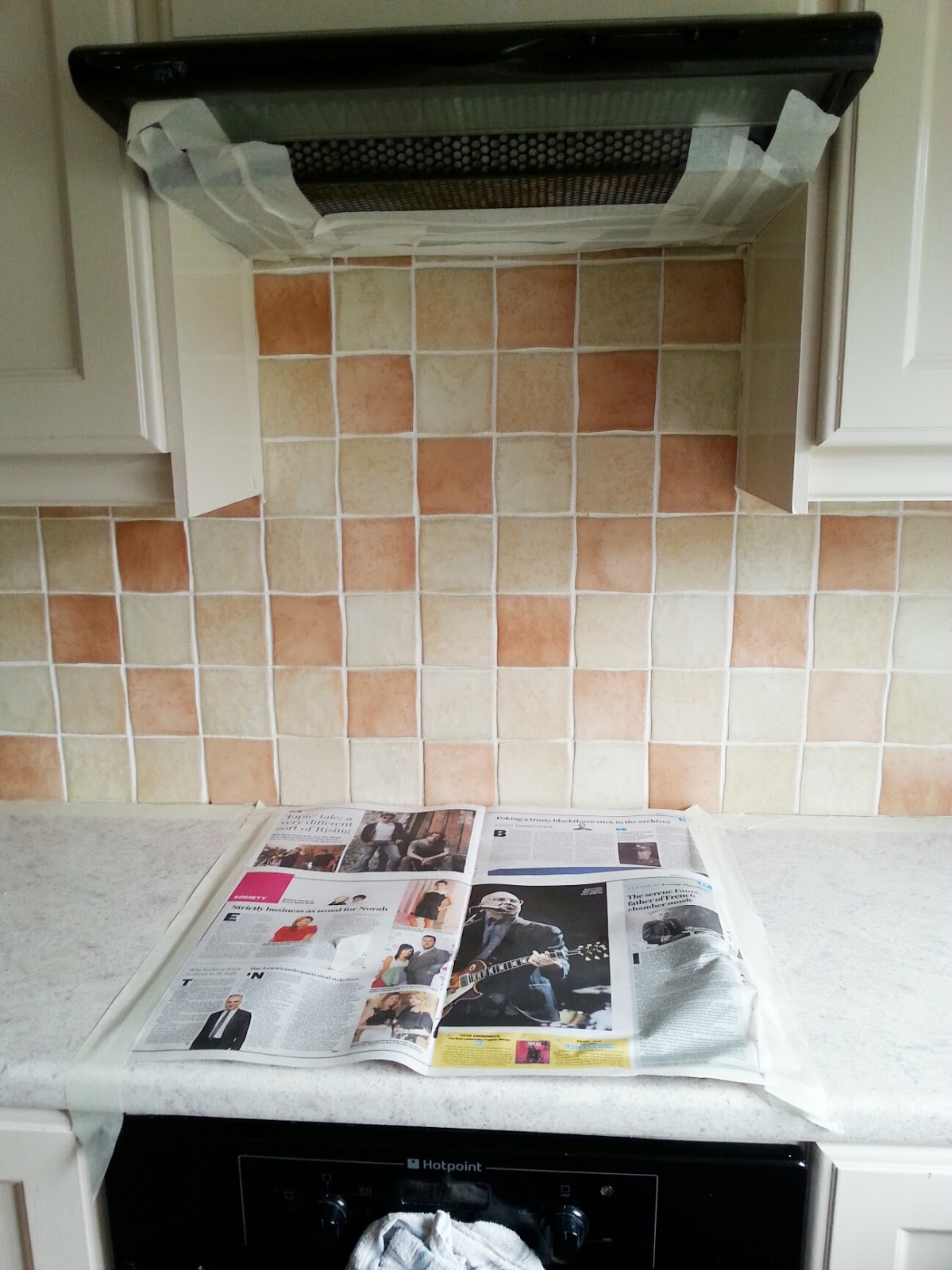 Painted tile backsplash cover those ugly tiles make do and diy painted kitchen tile backsplash cheap and easy update for dated tile makedoanddiy dailygadgetfo Image collections