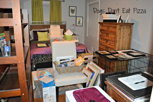messy guest room means progress
