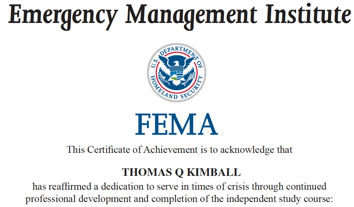 FEMA Emergency Management Institute (EMI) Independent Study (IS) Certificates