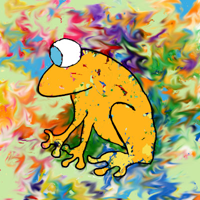 Illustration of Fun Frog with Swirly Background