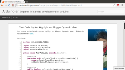 Test Code Syntax Highlight on Blogger Dynamic View