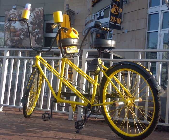 Steelers Black and Gold Tandem Bicycle, by Rapp's Bicycle Center of Butler PA, outside Jerome Bettis' Grille