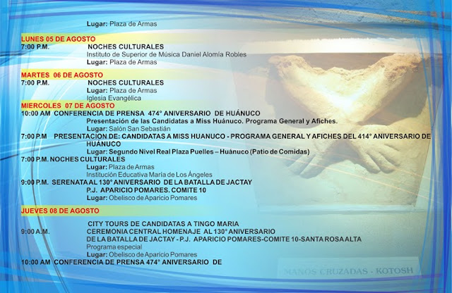 ANIVERSARIO DE HUANUCO 2013 PROGRAMA DE ACTIVIDADES
