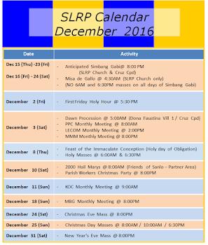 SLRP Calendar 2016