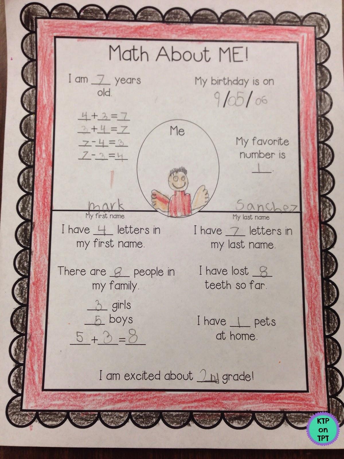 http://www.teacherspayteachers.com/Product/All-About-Me-Math-217176