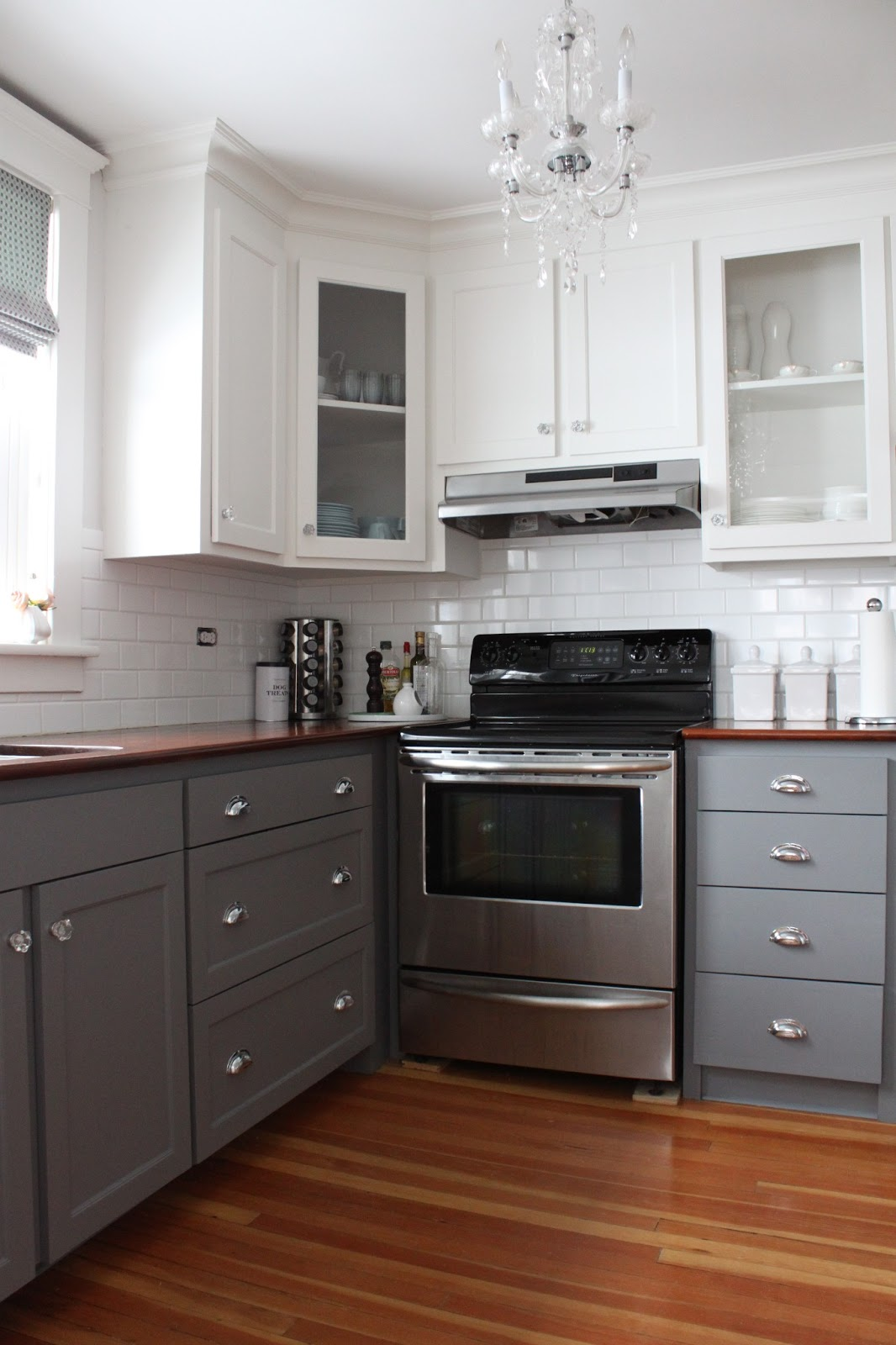 Modern Jane TwoTone Cabinets Reveal - Dark grey painted kitchen cabinets