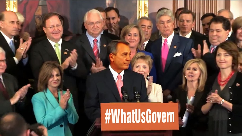 Photoshop image of GOP behind sign asking, '#WhatUsGovern'?