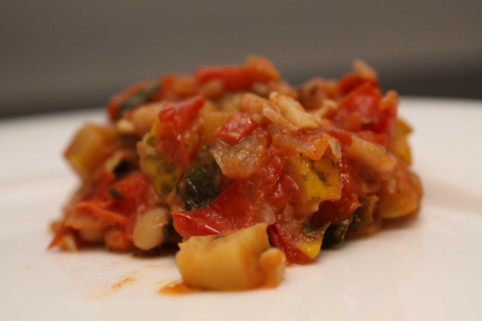 Tomato, Summer Squash, Cannellini bean Ragout :: Plate and ...