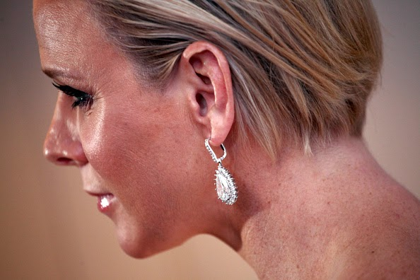 Princess Charlene of Monaco's earring details as she attends the 2014 Princess Grace Awards Gala at the Beverly Wilshire Four Seasons Hotel on 08.10.2014 in Beverly Hills, California.