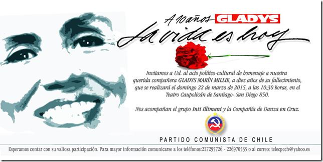 """Invitación Acto Teatro Caupolicán - GLADYS: """"La vida es hoy"""""""