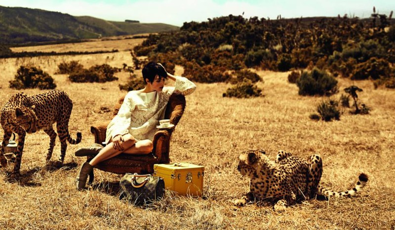 Edie Campbell with cheetah for Louis Vuitton