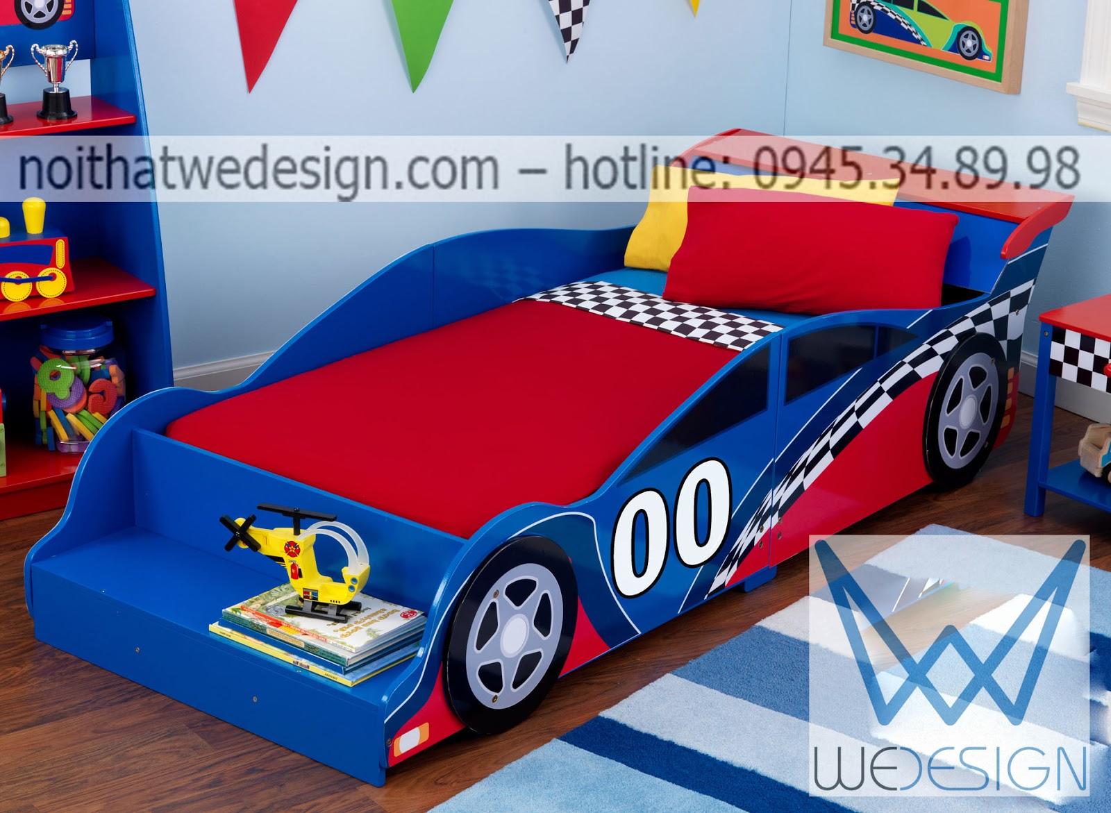 Giường ngủ ô tô ngộ nghĩnh màu xanh