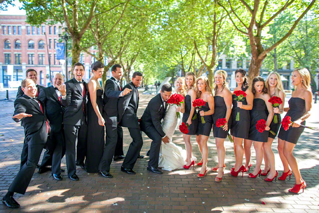 bridal party outside the arctic club seattle at a northern lights dome room wedding