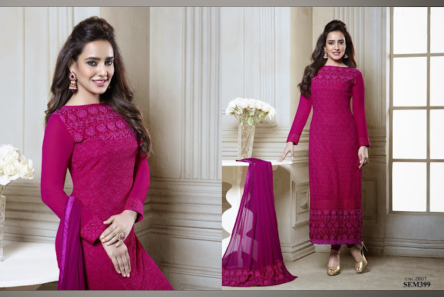 Neha Sharma And Kangana Chiffon Long Salwar Kameez