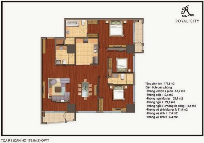 Chi tiết thiết kế căn hộ toà R1 chung cư Royal City diện tích 179.8 m2