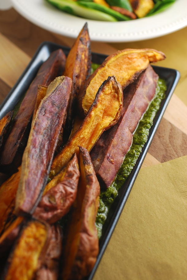 Roasted Sweet Potatoes with Italian Salsa Verde