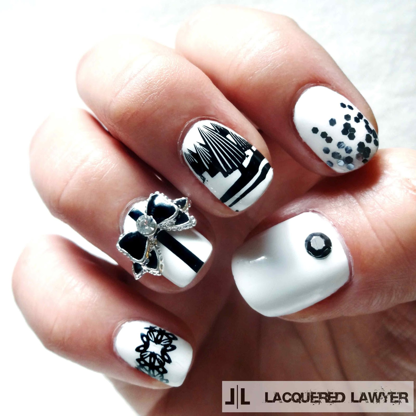 Black and White Christmas Nail Art
