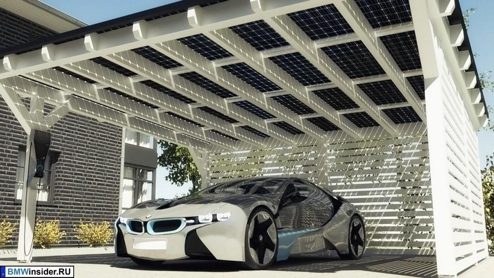 BMW i8 заряжается от солнечных батарей