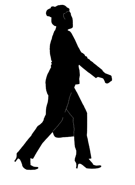 Asian woman with bag silhouette