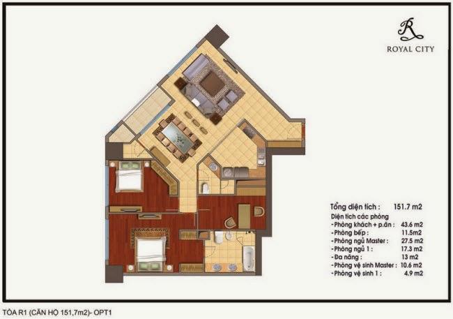 Mặt bằng căn hộ 151.7m2 tòa R1 Royal City