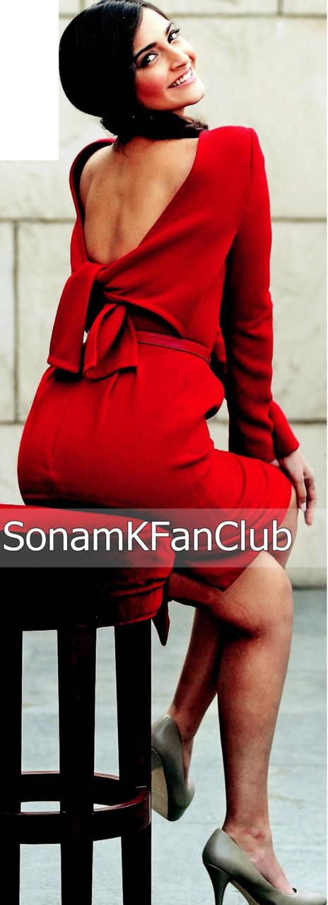 Sonam Kapoor Back & side Pose 1 - Sonam Kapoor Red Dress Back & Side Pose Pics