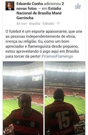 Com Eduardo Cunha como chefe da torcida Mengão dá vexame em Brasília
