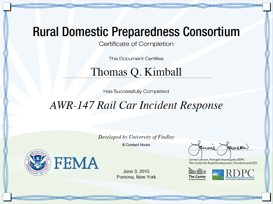 AWR 147: Rail Car Incident Response With The Rural Domestic Preparedness Consortium (RDPC)