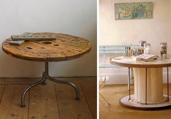 mesa de carretel de madeira