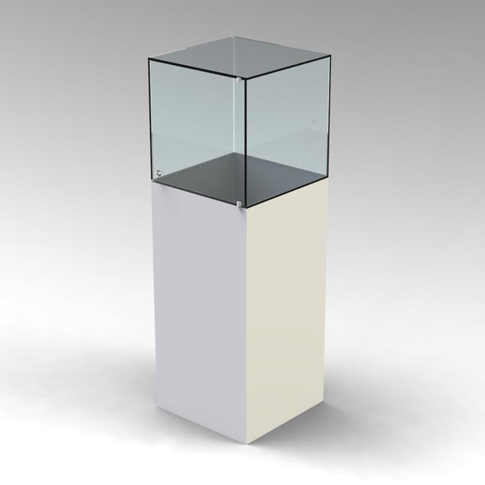 Exhibition Display Cabinets : Glass uv bonded display cabinets with base plinth