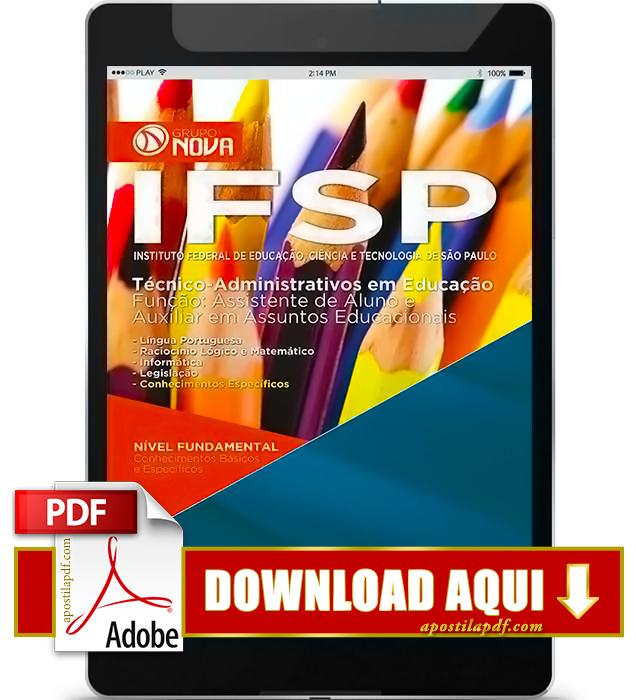 Apostila IFSP 2016 PDF Download Auxiliar em Assuntos Educacionais