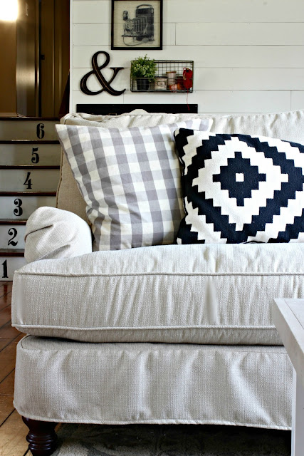 Birch Lane Montgomery slipcovered sofa review - www.goldenboysandme.com