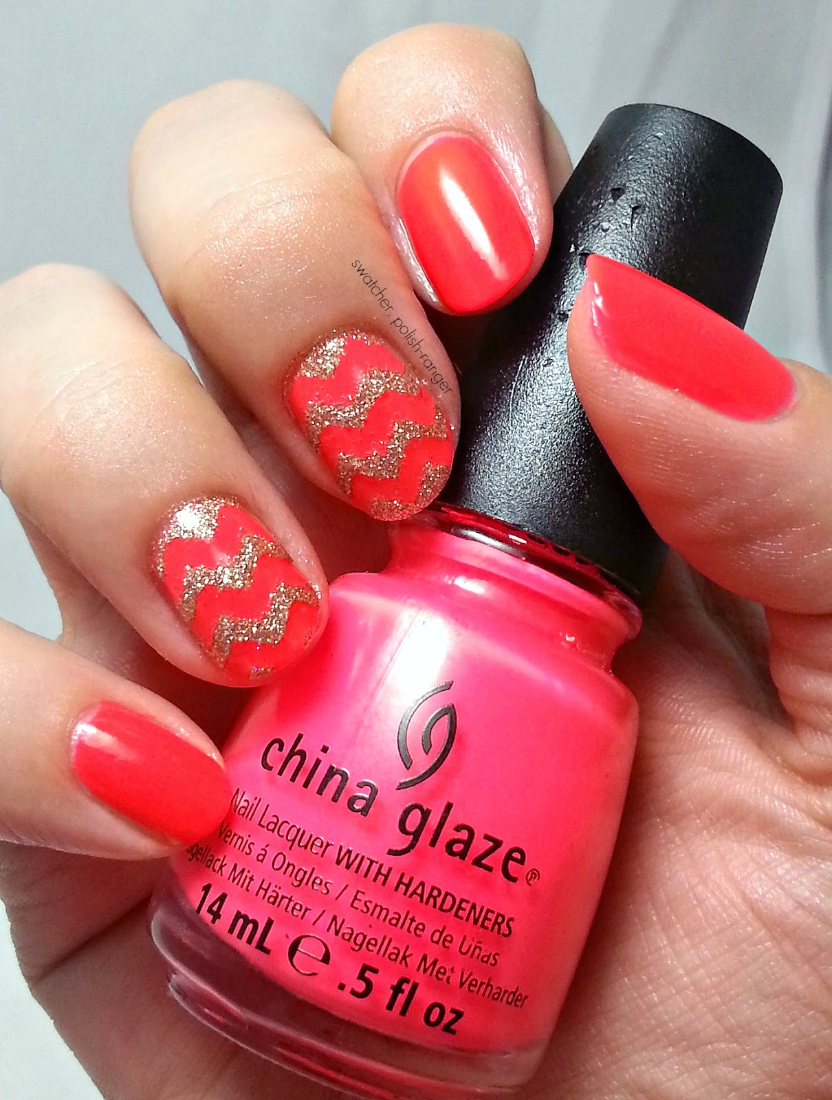 China Glaze Pool Party with Champagne Kisses used as chevron accents