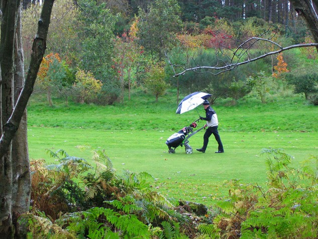 golfer in the rain
