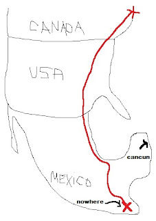 Route from Mexico to Canada