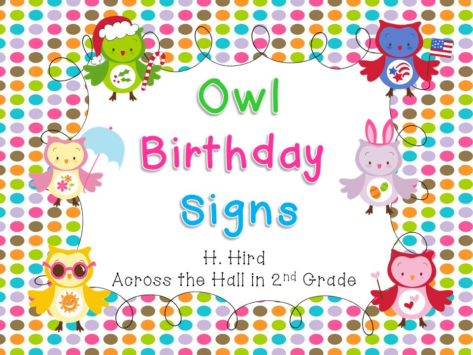 Across the Hall in 2nd Owl Birthday Display Freebie