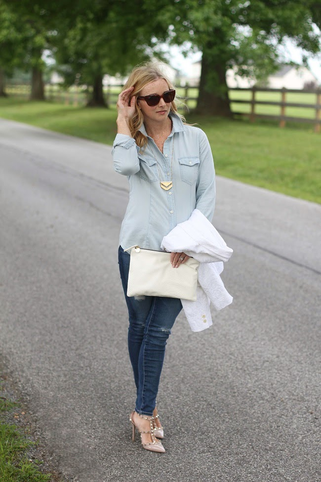 loft chambray shirt, madewell necklace, loft white blazer, AG jeans, Valentino rock stud heels