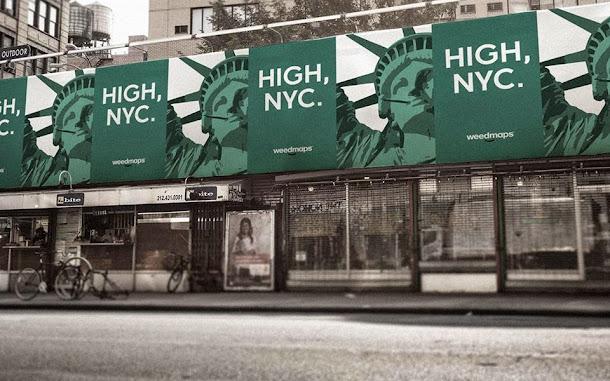 Publicidade da Weedmaps na Times Square, NY pede legalização da maconha