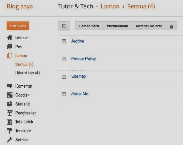 Desain Baru Laman/Pages  Di Blogspot